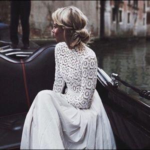 Self Portrait long sleeve crochet maxi dress US6